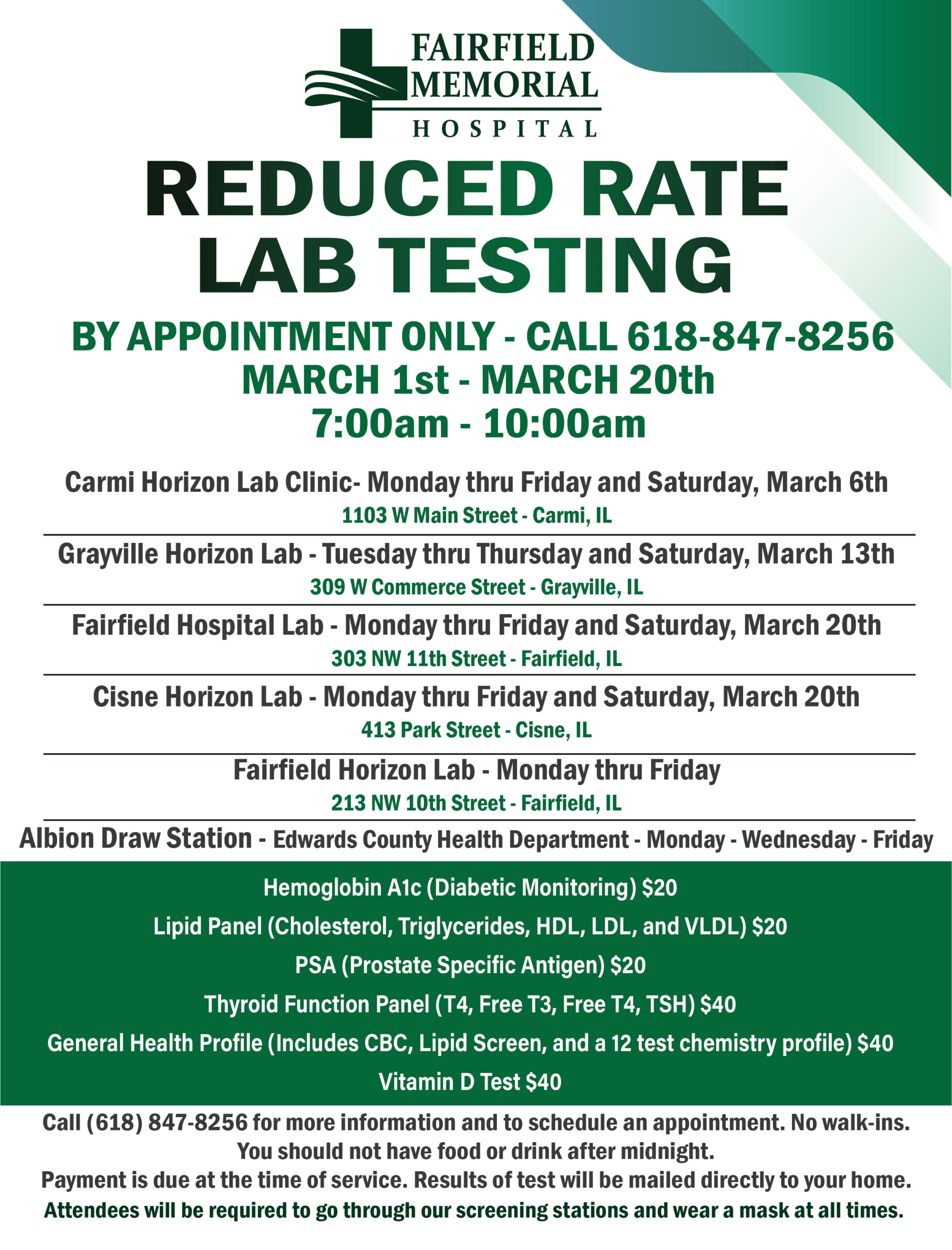 Reduced Rate Labs Ad March